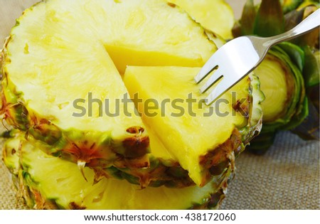 Health benefits of Pineapple fruit. Nutrition Facts and Health Benefits of Ananas comosus. - stock photo