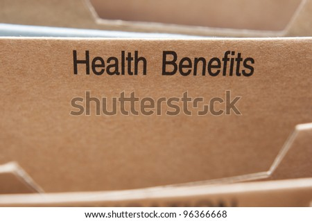 Health Benefits section tab in folding file.