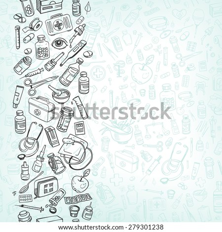 Health care and medicine doodle background - stock photo