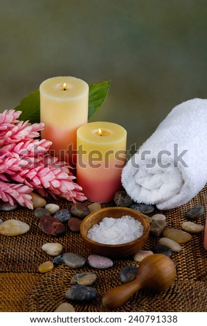 Health care background made of tropical elements - stock photo