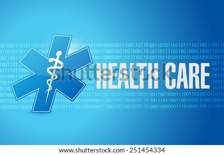 health care binary sign illustration design over a blue background - stock photo