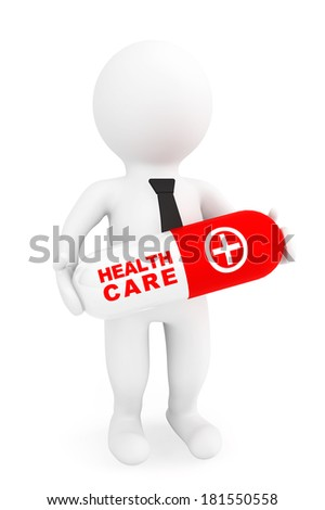 Health care concept. 3d person with capsule pill on a white background - stock photo