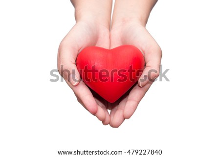 health care concept.hand holding red heart isolated on white background