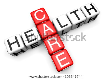 Health Care concept. Sign as crossword blocks on a white background