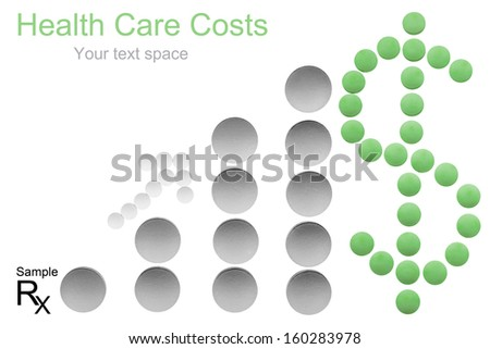 Health care cost concept with copyspace - money sign, arrow and bar chart made of medicine pills shows increasing costs - stock photo