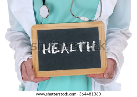 Health care healthcare ill illness healthy doctor with sign - stock photo