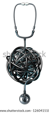 Health care management medical symbol with a doctor stethoscope tangled in a ball of confusion as a concept of medical problems and failure after a diagnosis and dealing with human illness. - stock photo