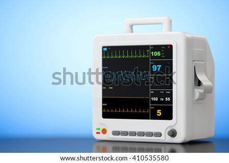 Health care portable cardiac monitoring equipment on a blue background. 3d Rendering - stock photo