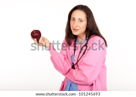 Health care provider doctor suggests an apple for healthy living