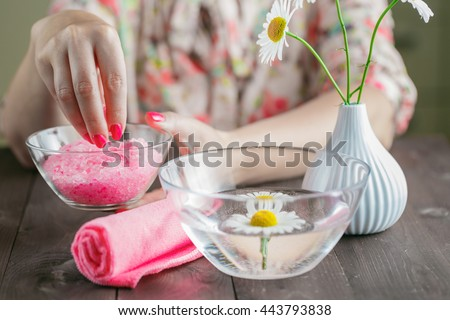 Health care spa stuff and gentle spring flowers - stock photo