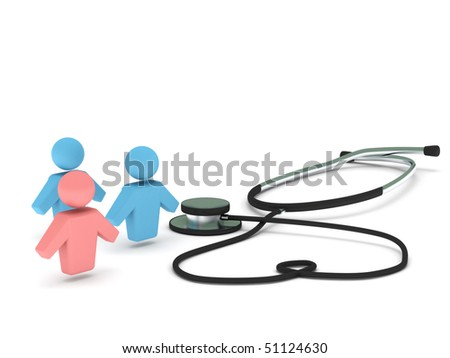 Health care. Stethoscope and human figures isolated on white background. High quality 3d render. - stock photo