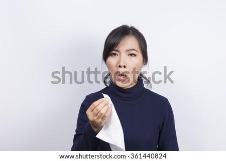Health Care: Woman has sneezing - stock photo