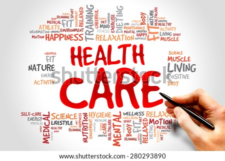 Health care word cloud, health concept - stock photo