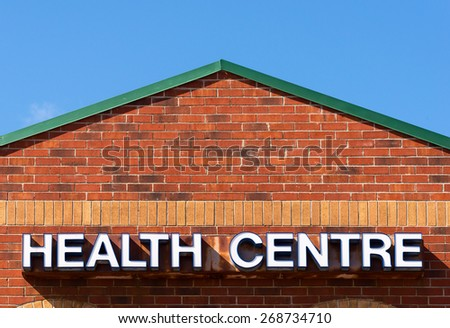 Health Centre Sign - stock photo
