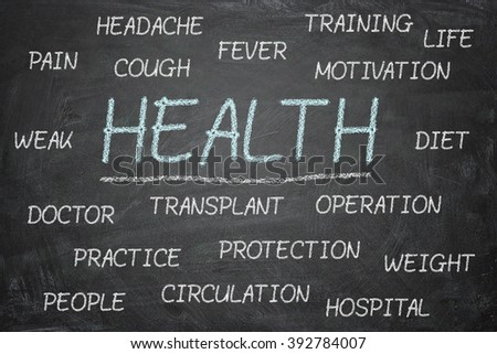 Health. Chalk drawing. Concept. Health world. Text. blackboard