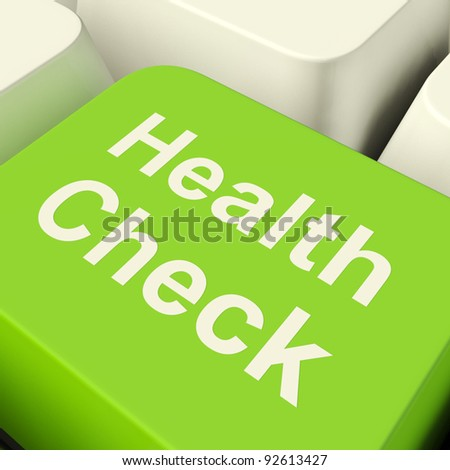 Health Check Computer Key Showing Medical Examinations Or Wellness Monitoring. Keyboard Shows Healthcare Fitness And Fitness Testing.