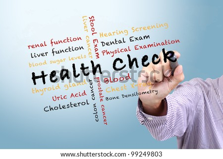 health check concept and other related words. written on white board