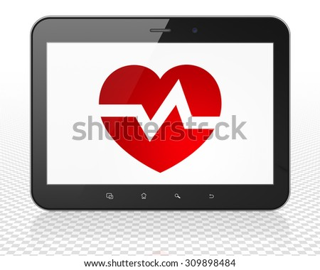 Health concept: black Tablet Pc Computer with red Heart icon on display, 3d render - stock photo
