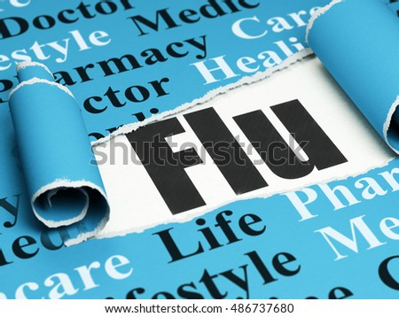 Health concept: black text Flu under the curled piece of Blue torn paper with  Tag Cloud, 3D rendering