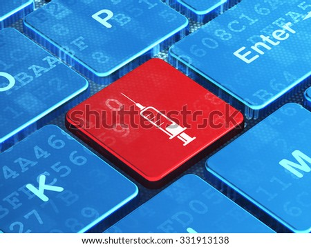 Health concept: computer keyboard with Syringe icon on enter button background, 3d render - stock photo