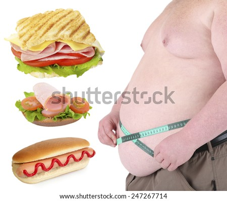 Health concept. Fat man and fastfood, isolated on white - stock photo