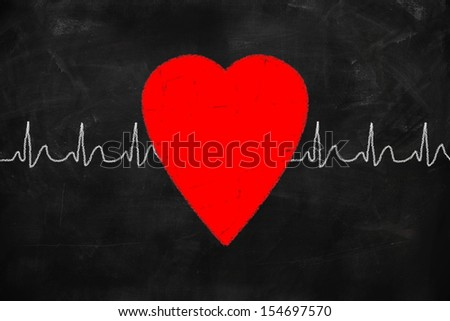 Health concept heart drawing with chalk on a blackboard