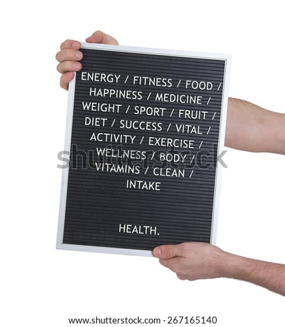 Health concept in plastic letters on very old menu board, vintage look - stock photo