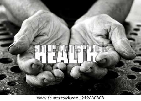 Health concept in the old female hands  - stock photo