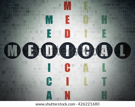Health concept: Painted black word Medical in solving Crossword Puzzle on Digital Data Paper background - stock photo