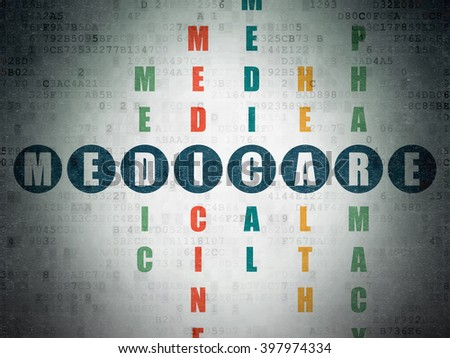 Health concept: Painted blue word Medicare in solving Crossword Puzzle on Digital Paper background - stock photo