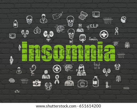 Health concept: Painted green text Insomnia on Black Brick wall background with  Hand Drawn Medicine Icons