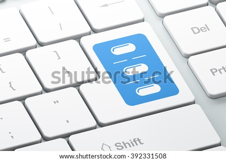Health concept: Pills Blister on computer keyboard background