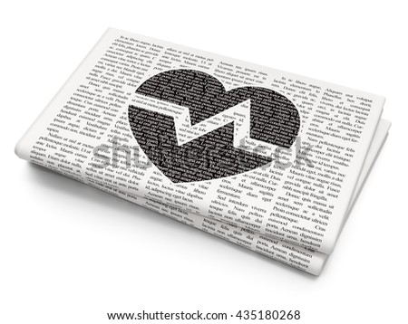 Health concept: Pixelated black Heart icon on Newspaper background, 3D rendering - stock photo