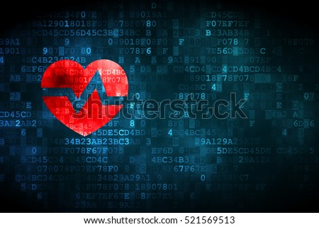 Health concept: pixelated Heart icon on digital background, empty copyspace for card, text, advertising