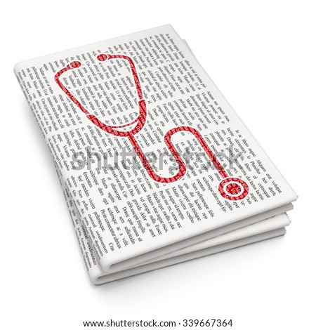 Health concept: Pixelated red Stethoscope icon on Newspaper background - stock photo
