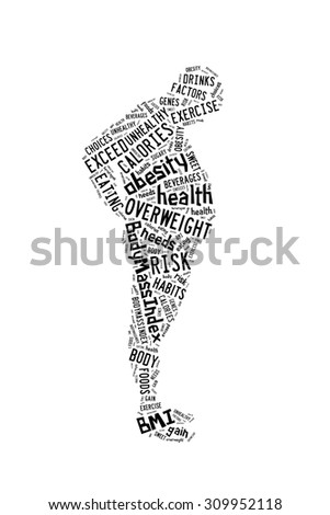 Health conceptual, factors causing obesity presented in word cloud - stock photo