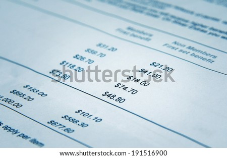 health cover paid benefits closeup - stock photo