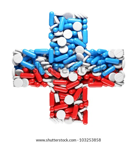 Health cross - made up of pills and capsules. Medicines concept