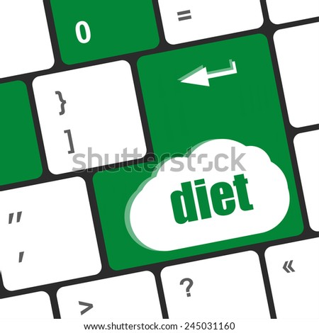 Health diet button on computer pc keyboard - stock photo