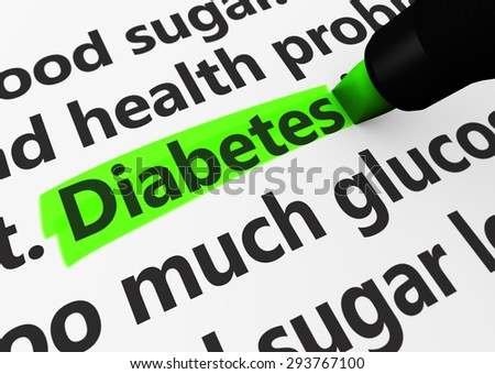 Health disease concept with a 3d render of medical words and diabetes text highlighted with a green marker. - stock photo