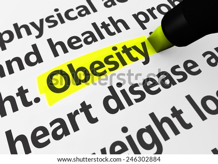 Health disease concept with a 3d rendering of medical words and obesity text highlighted with yellow marker. - stock photo