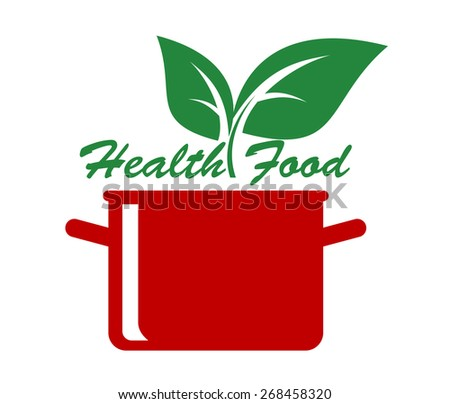 Health food icon with fresh green leaves above a cooking pot and the text - Health Food - for a healthy diet and lifestyle - stock photo