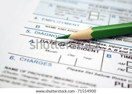 Health form - date of accident - stock photo