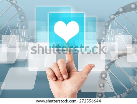 Health. Hand press on Heart Symbol ,medical icon - stock photo