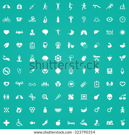 health 100 icons universal set for web and mobile