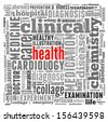 Health info-text graphic and arrangement concept on white background (word cloud) - stock vector
