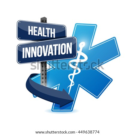 Health Innovation concept sign illustration design graphic - stock photo