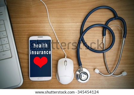 health insurance and health care - stock photo
