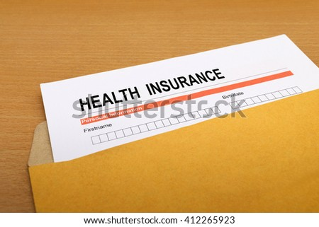 health Insurance application form on brown envelope