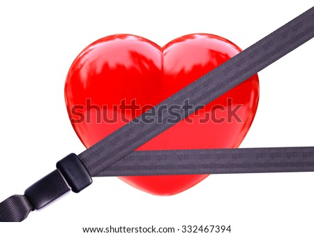 Health insurance concept.Safety belt Safety Heart.clipping path - stock photo